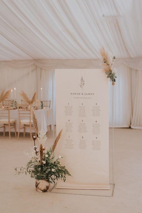 neutral wedding signage