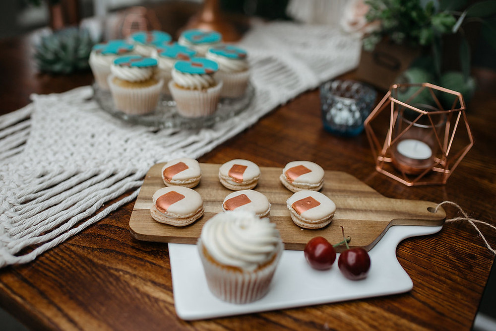 copper macarons and cupcakes wedding cake