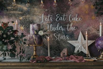 celestial wedding cake table backdrop