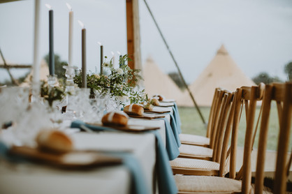 blue wedding tables