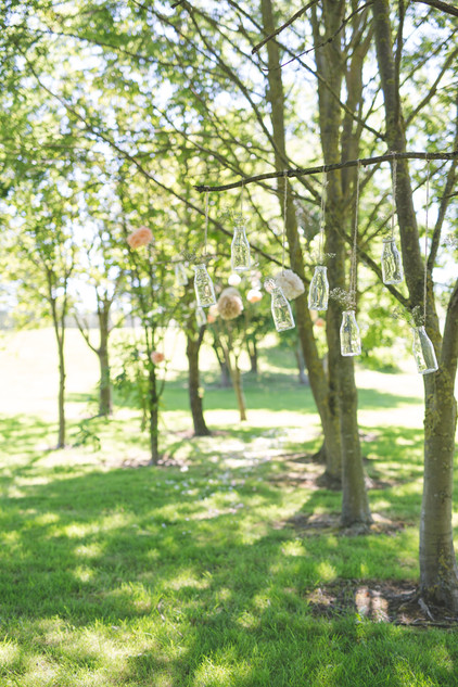 hanging items from trees wedding ideas