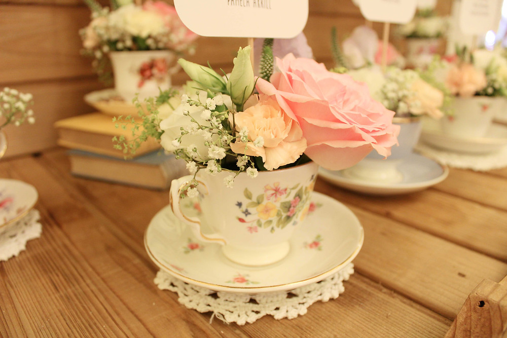 vintage tea cup floral arrangement