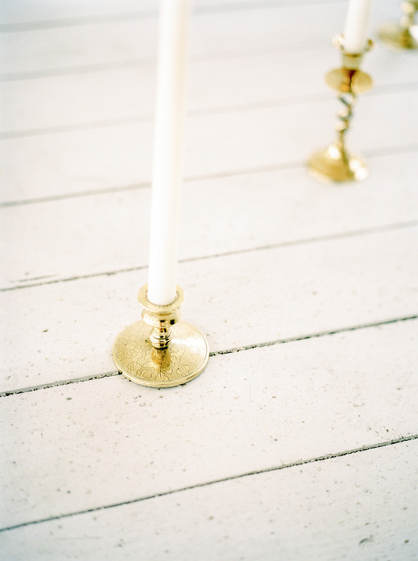 Brass Candlesticks with white tapered candles