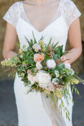 rustic peach pastel bridal bouquet