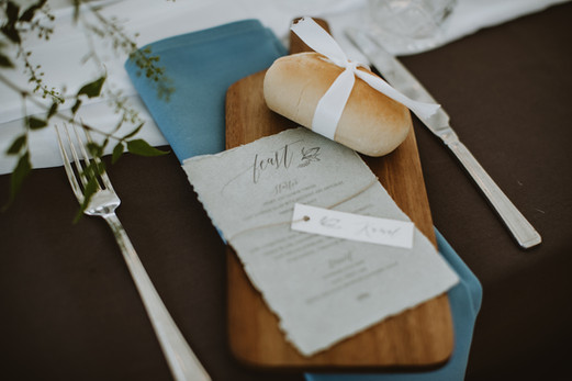 delicate wedding day stationery with menu and place name