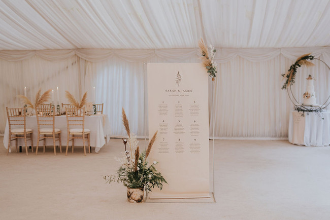 neutral linen scroll wedding sign