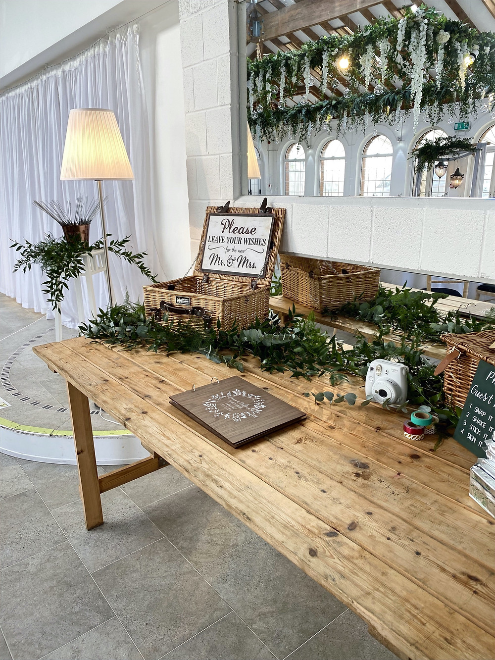 rustic cards and guestbook table