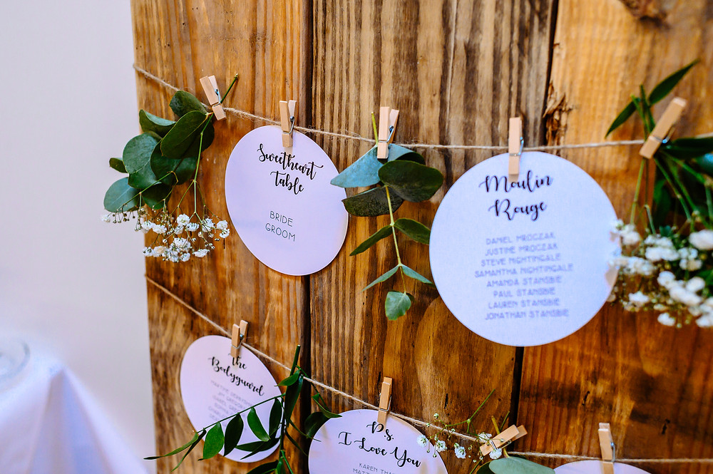 circle table plan with pegs movie theme wedding