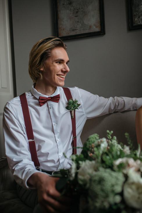boho groom burgundy tie