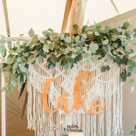macrame cake backdrop hire