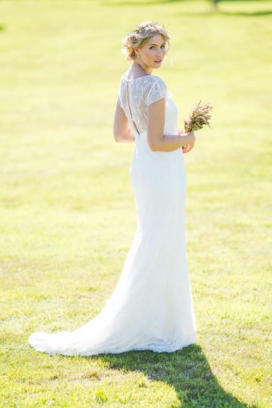 farm wedding bride in lace dress