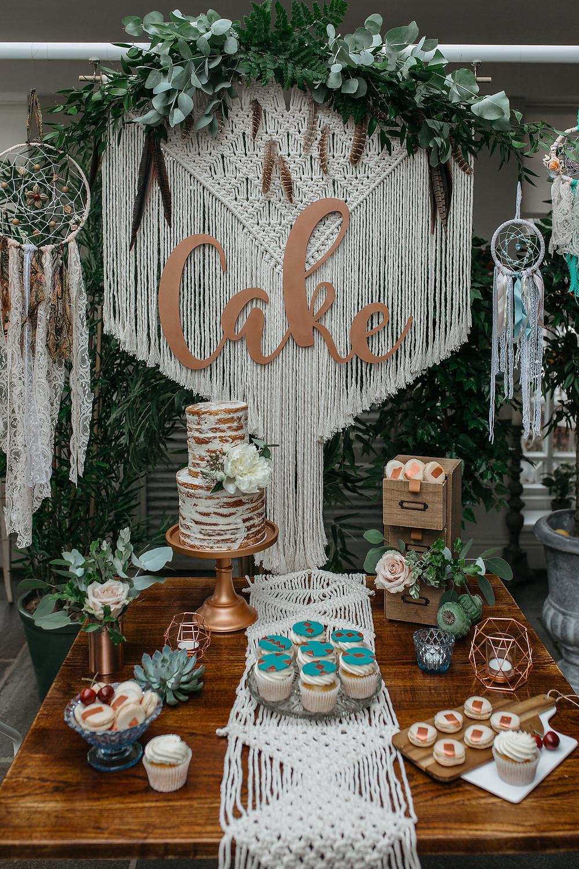boho macrame cake backdrop