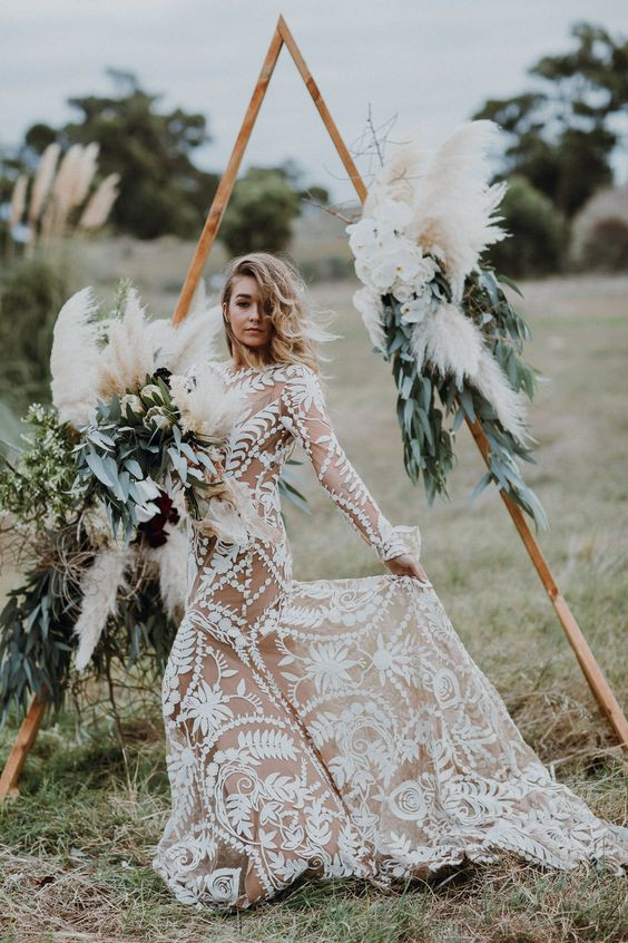 pampas grass wedding archway