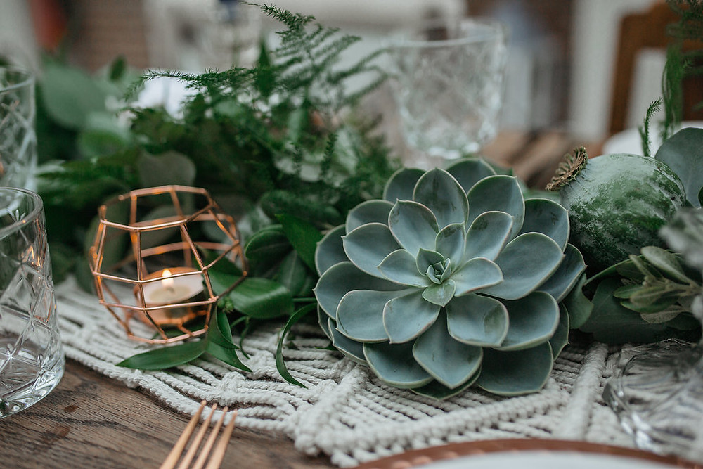 giant succulents wedding table styling copper geo tea light