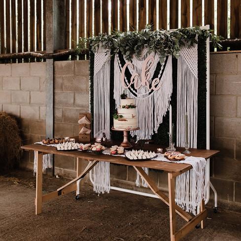 Macrame cake display farm barn wedding
