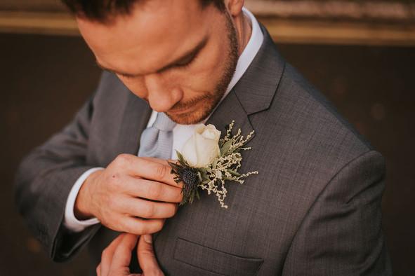 white rose mens buttonhole