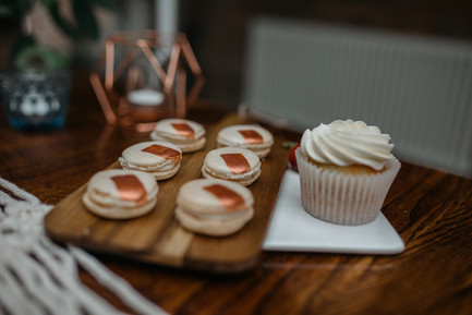 copper macarons and cupcakes
