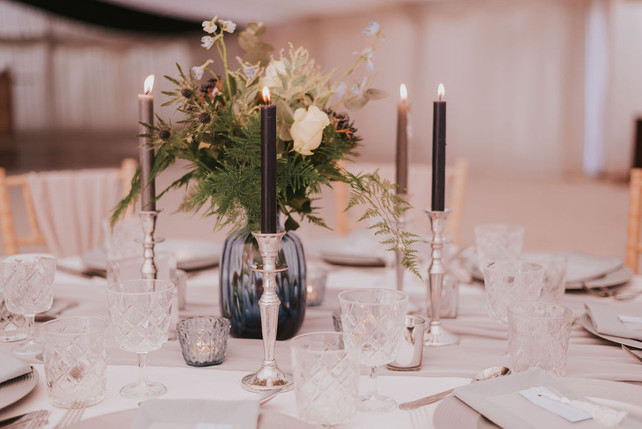 blue and silver candle wedding centrepeice