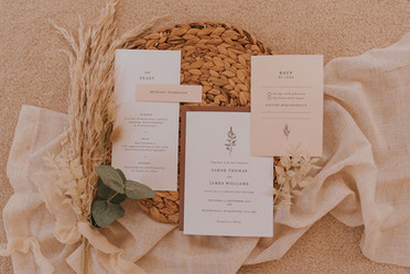 natural texture wedding stationery