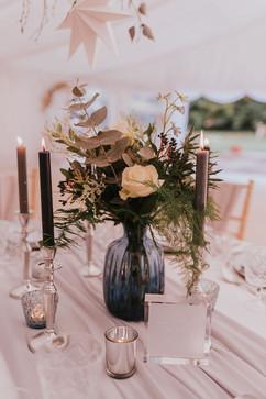 blue glass wedding centrepiece