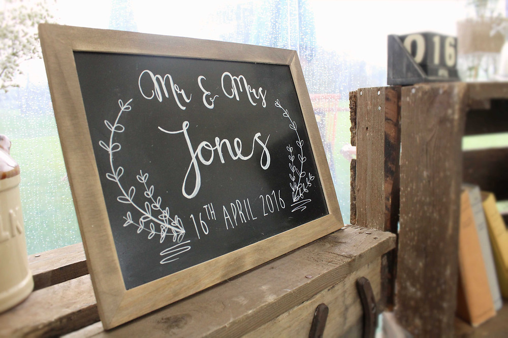 Mr and Mrs Jones personalised chalkboard