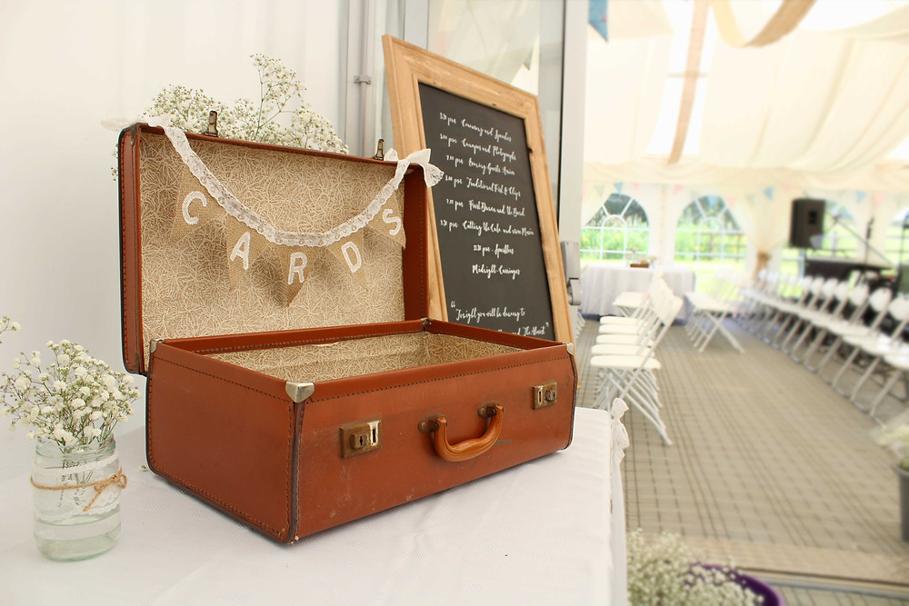 Vintage suitcase cards box hire leicester
