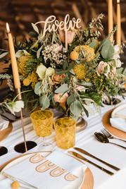mustard wedding centrepiece