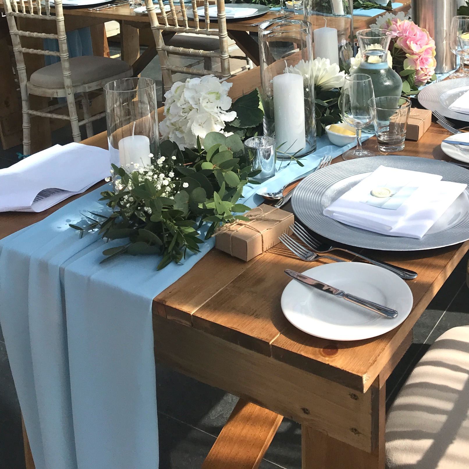 DUSTY BLUE CHIFFON TABLE RUNNER