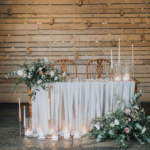 Wedding ceremony table flowers dodmoor house