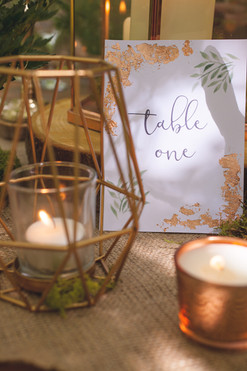 woodland wedding copper luxe table number