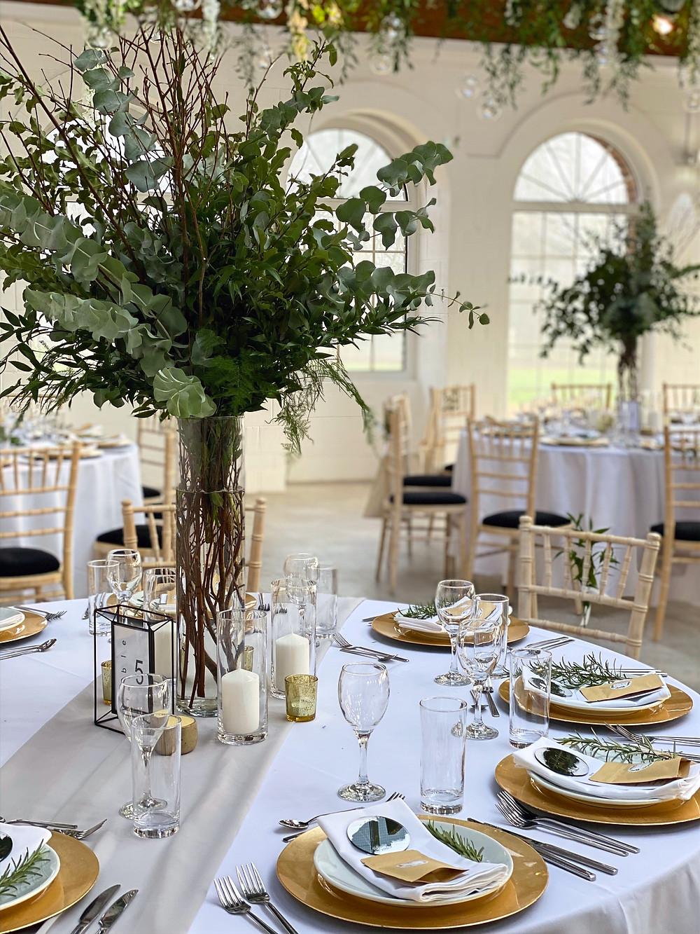 tall vase greenery tree wedding table decor