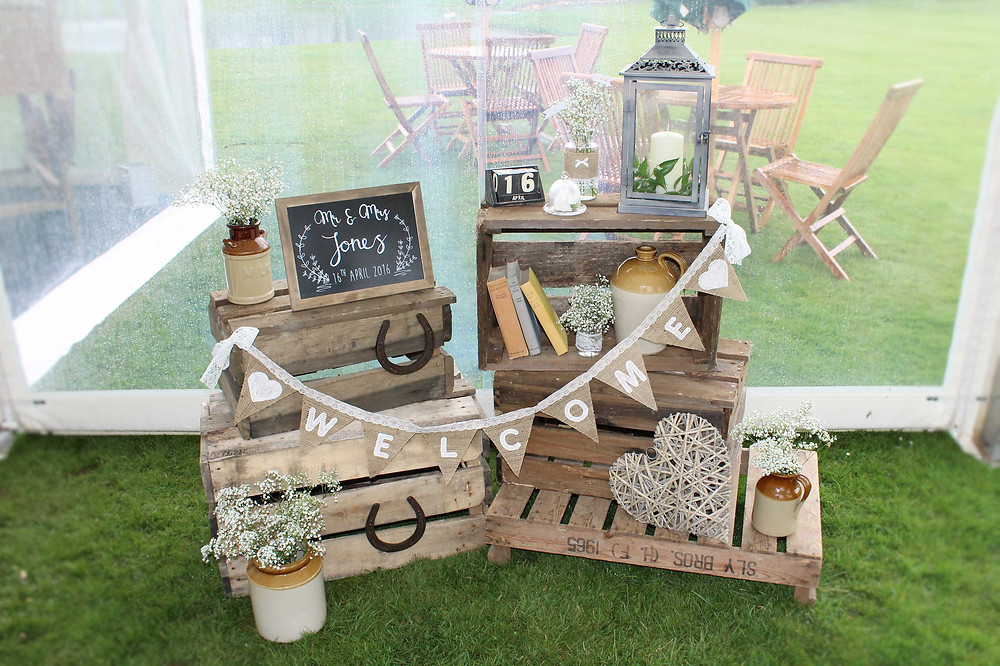 rustic wedding welcome area