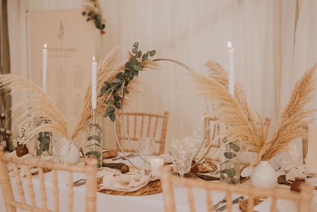 pampas grass wedding centrepiece