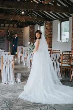 grey wedding chairs with lattice design