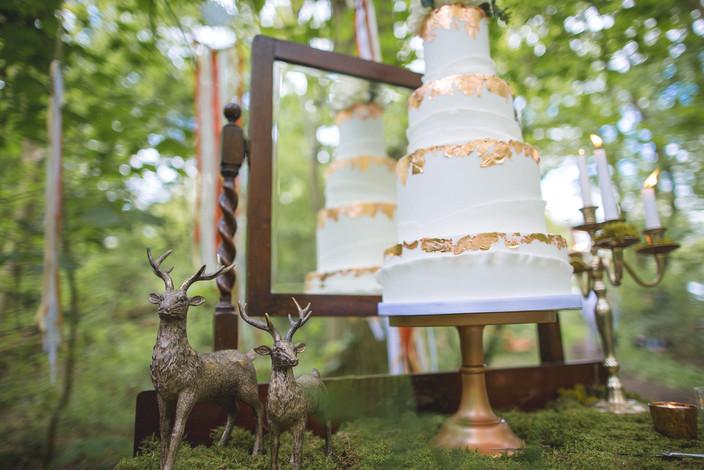 woodland wedding copper luxury cake