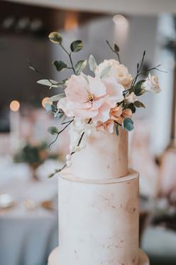 blush pink wedding cake flowers