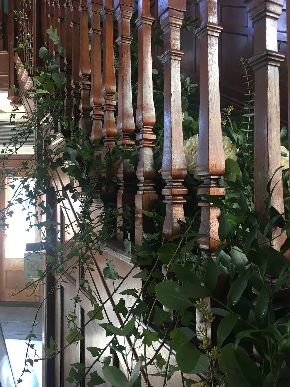 statement floral staircase arrangement florist east midlands