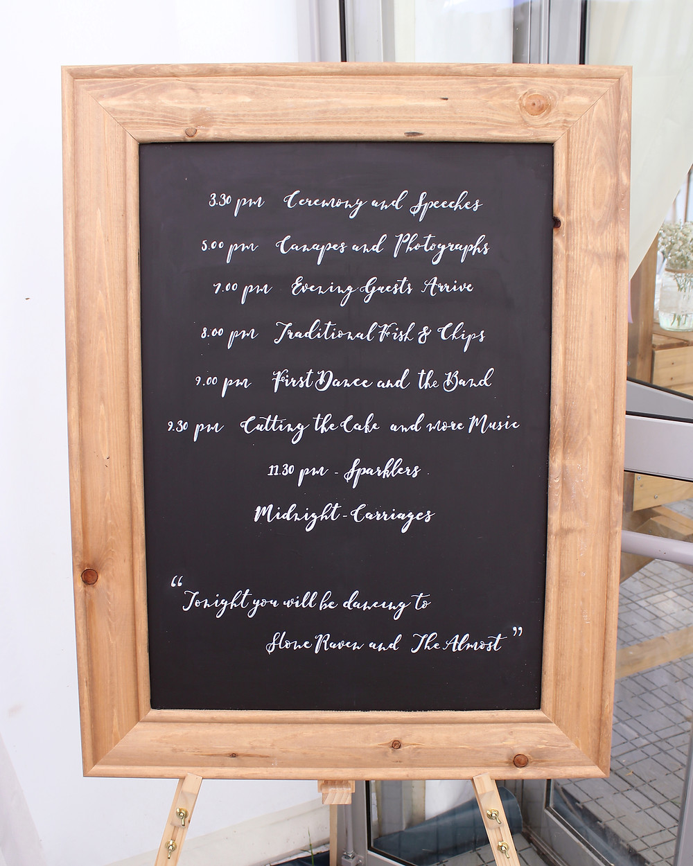 Handwritten order of the day chalkboard
