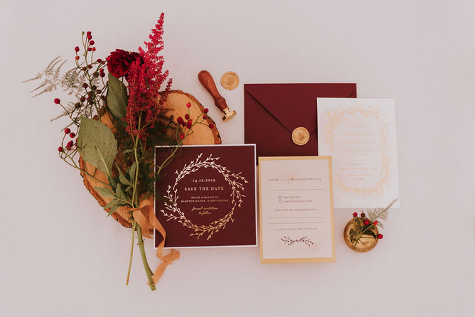 red and gold wedding stationery