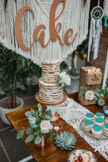 boho macrame wedding cake table