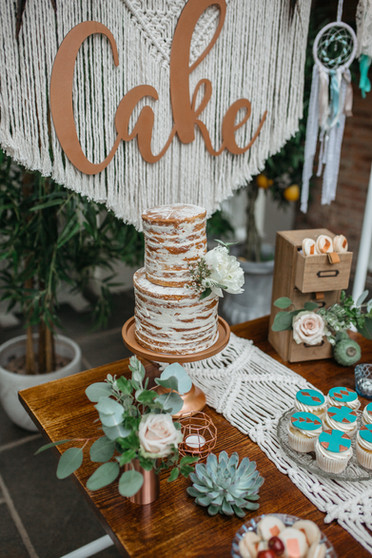 boho macrame wedding cake table