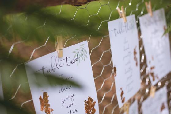 woodland wedding copper leaf table plan