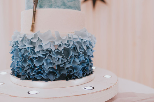 blue ombre ruffle wedding cake