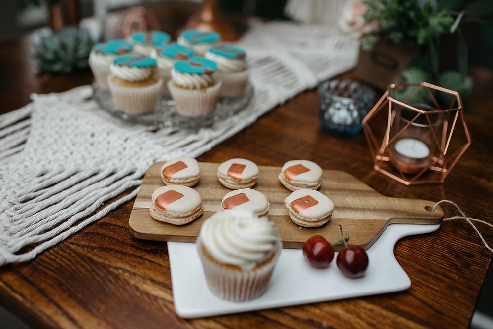 Copper Macaron Wedding Favours