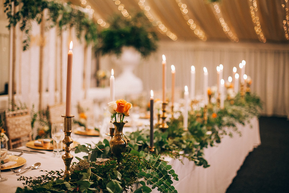 wedding top table foliage