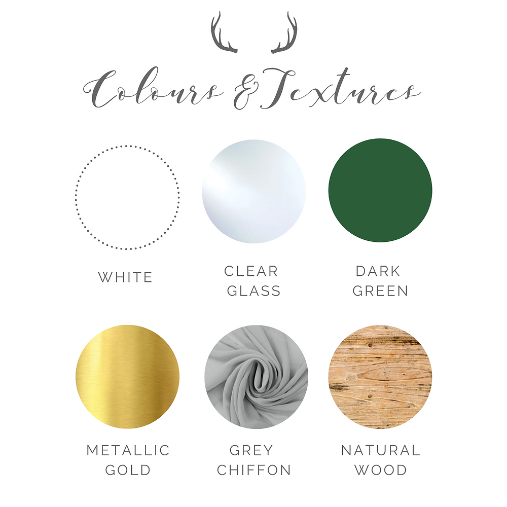 green, gold and white rustic wedding colour pallette