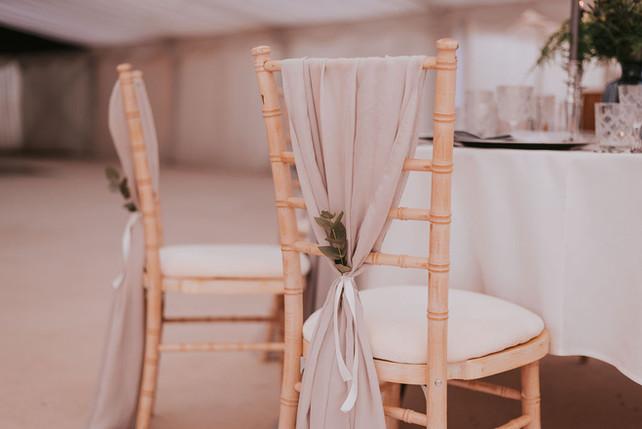light grey chair sash drape
