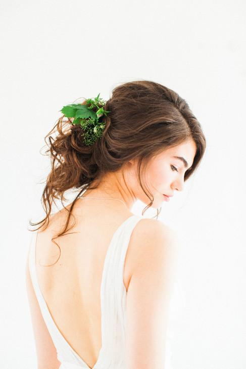 boho wedding hair with foliage