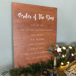 ORDER OF THE DAY WOODEN BOARD SIGN