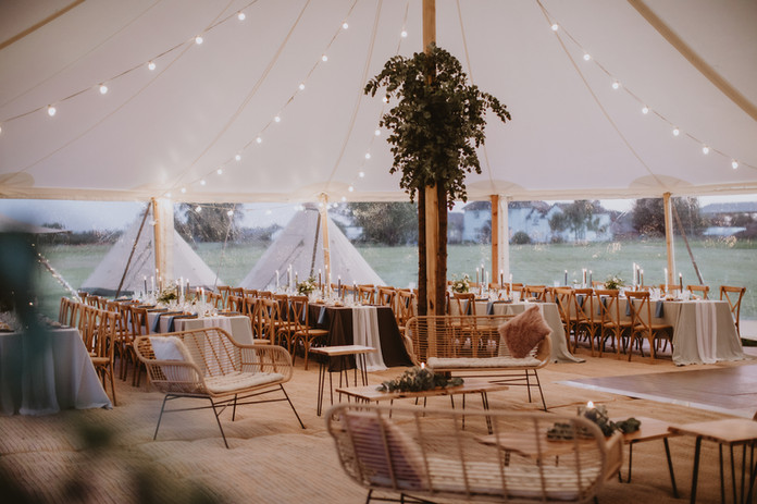 inside a marquee for 60 guests